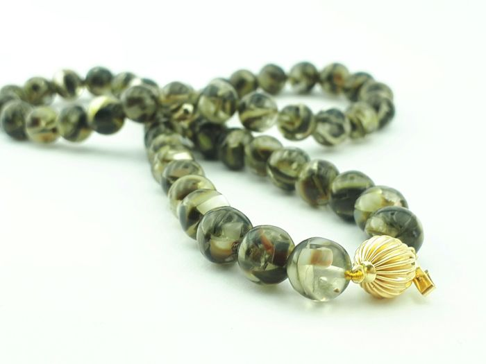 Tiger's Eye  Necklace, 42 cm long with 14k yellow gold clasp