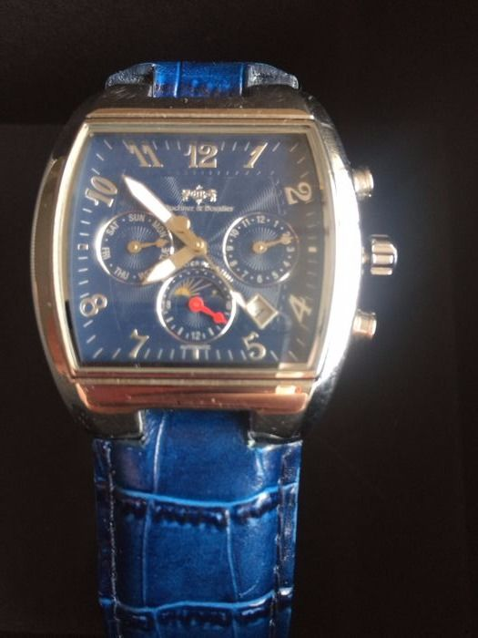 Buchner & bovalier blauw men's wristwatch