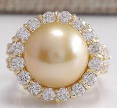 2.00 Carat Natural Diamond And South Sea Pearl Ring In - Ring Size: 7  *** free shipping *** no reserve ***