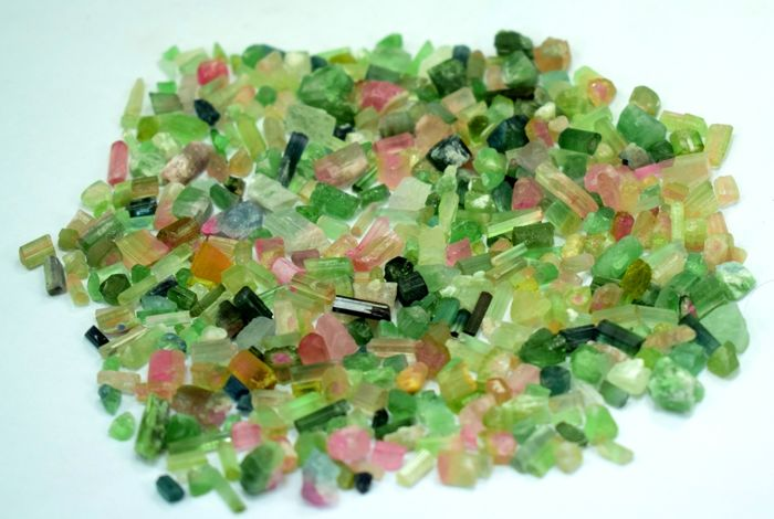 Mixed Colors Indicolite , Watermelon , Pinkish , Green Natural Tourmaline Crystals Rough - 95 gr