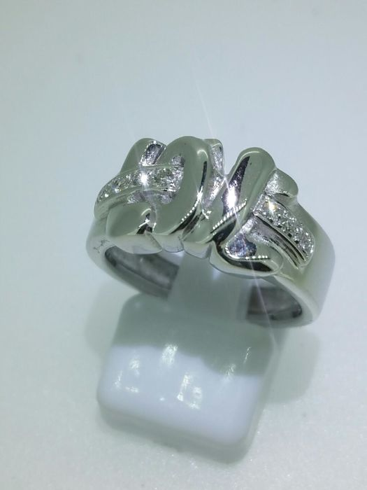 """LOVE"" ring in white gold and diamonds - 18 kt - ring size 54"
