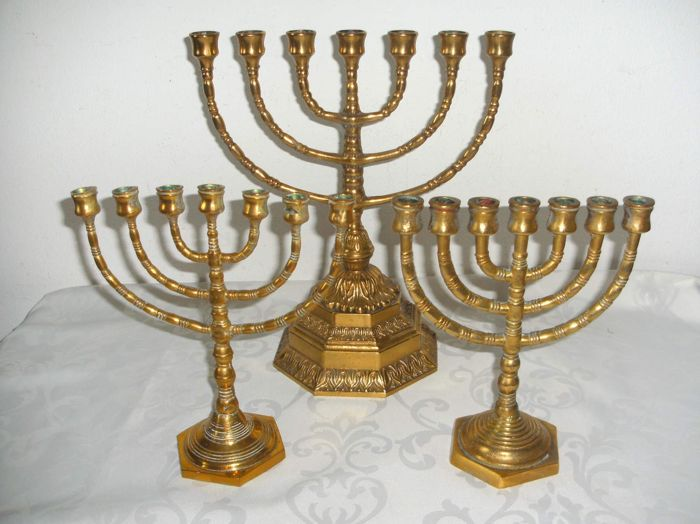 Three beautiful Jewish candlesticks (Menorah), one of which a very large specimen - origin Israel (??) - from the 50s last century.