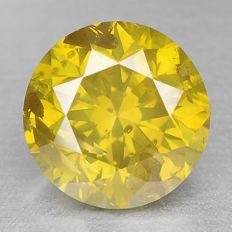 1.14cts GIL CERTIFIED Natural Fancy Intense Greenish Yellow Color Diamond
