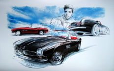 BMW 507 (1954) - Giclee Art Poster - limited edition of 3/100 copies