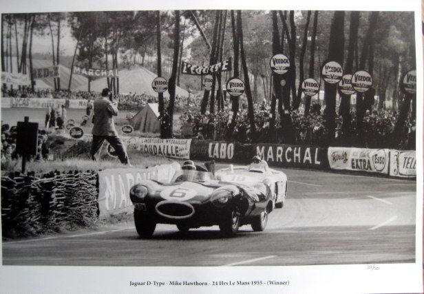 Le Mans 1955 - Jaguar D-Type #6 Hawthorn (Winner) /Mercedes-Benz 300 SLR #19 Fangio - Great Photo Print HV Silk MC 250 g/m2
