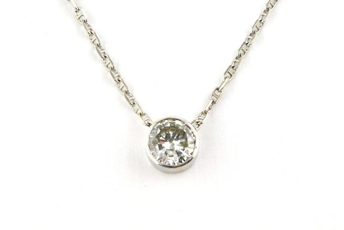 Diamond (Old cut +/-0.90ct JK / I) Set on 18K White Gold Pendant with chain  - Chain Length 42.5cm