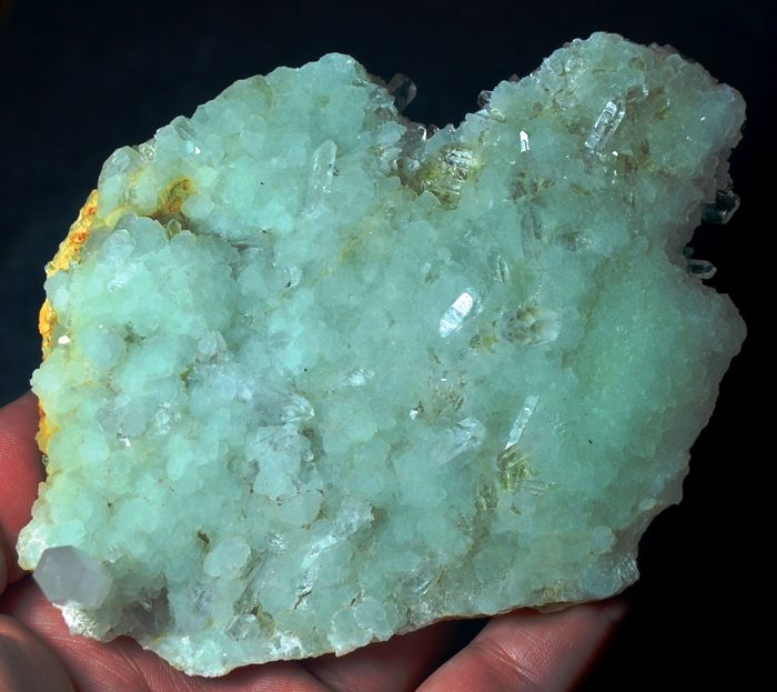 Clear Quartz Crystals On green Prehnite crystals - 115 x 90 x 36 mm - 261 gm