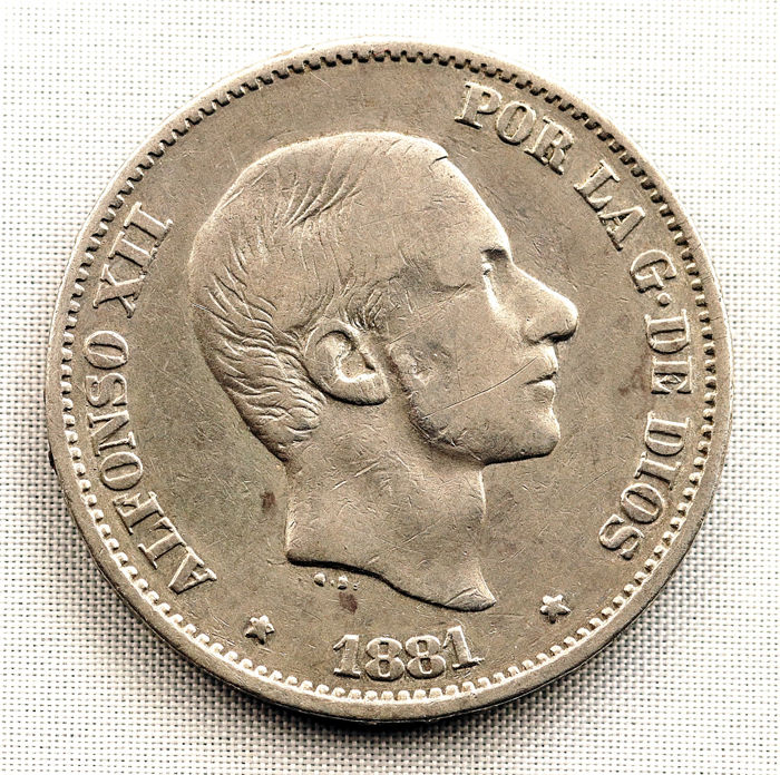 Spain – Alfonso XII – 50 centavos of a peso in silver – 1881 – Manila