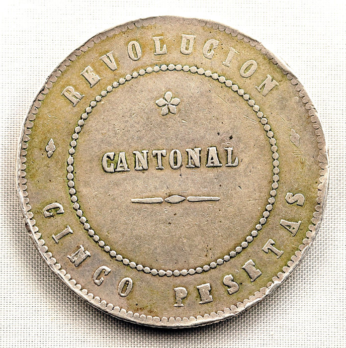 Spain – Cantonal Rebellion – NON-COINCIDING VARIANT – Five pesetas silver coin – 1873 – Cartagena