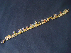 "Vintage bracelet ""City"" with diamonds, rubies, sapphires, emeralds made of 333 / 8 kt gold, antique, around 1965"