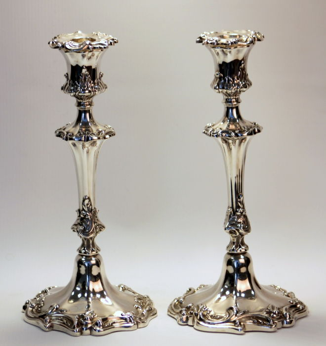 A pair of Victorian filled silver candlesticks with floral engravings - possibly by Henry Wilkinson - Sheffield - 1840