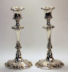 A pair of Victorian filled sterling silver pair of candlesticks with floral engravings - possibly by Henry Wilkinson - Sheffield - 1840
