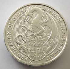 Great Britain - 5 Pounds 2017 'The Queen's Beasts – Red Dragon of Wales' – 2 oz Silver