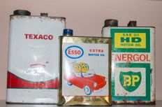 Texaco, Esso & BP - 3 oil cans - Post 1950