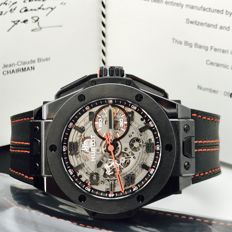 Hublot Big Bang All Black Ferrari Ceramic Limited Edition 1000u, Gentlemen, Year 7/2017, NEW!!