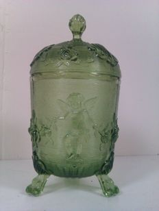 Green pressed glass candy jar on legs and lid with angels - France - 1st half 20th century