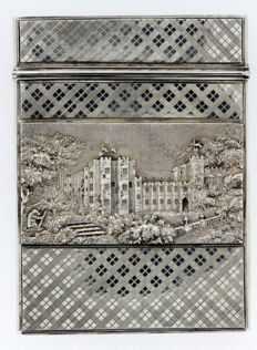 Victorian silver card case with castle engravings - Nathaniel Mills - Birmingham - 1837