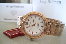Krug Baümen Charleston 4 Diamond White Dial Rose Gold Strap 5116RDM-New
