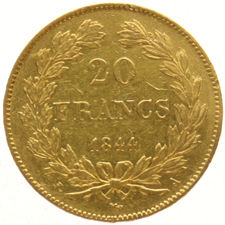 France – 20 francs 1844 A, Louis Philippe I – gold