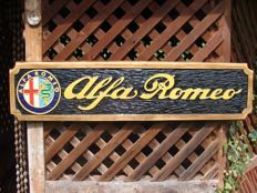 ALFA ROMEO Large unique handmade sculpting logo made from wood - 24,5 x 100 cm