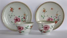Two cups and saucers, famille rose - China - 18th century.