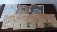 Lot of 13 gold bonds ,war bonds , promissory notes  Germany ,Russia ,Austria