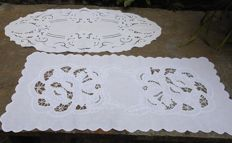 Two cutwork embroidered vintage centrepieces
