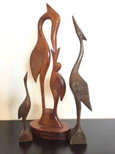 Three beautiful Ibis wood carvings - Africa - second half of the 20th century