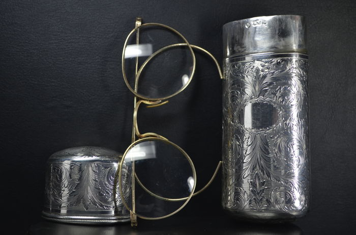 A silver spectacle case - possibly France - 19th century