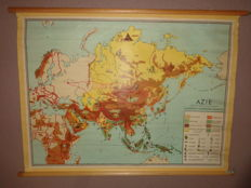 "Beautiful map / school poster of ""Asia"" by Bakker and Rusch"