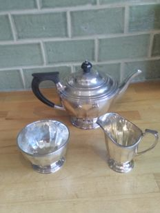 Atkins Brothers , three piece silver plate tea set, tea pot, sugar bowl and milk jug. circa 1920's
