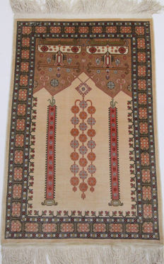 Hereke silk carpet Turkey 0.90 x 0.50 m, signed, hand-knotted rug, 100% silk, 1 million knots