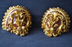Pair of corbels gilt carved wood - France - 19th century