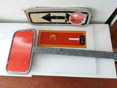 3 direction signs - information signs, including Dutch Fire Brigade (Nederlandse Brandweer) 1950-1960s