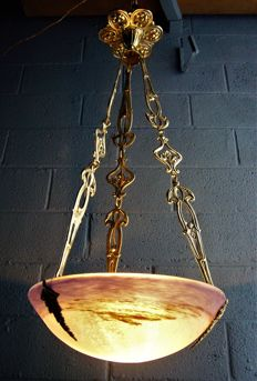 Degué - Chandelier suspension/ ceiling light - Art Deco - in paste glass & bronze