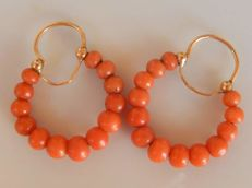 Pair of Creole earrings with Mediterranean coral - no reserve price