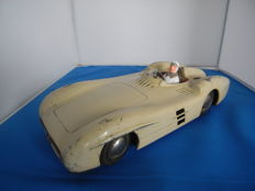 JNF, Western Germany - Length 27 cm - Tin friction ivory Mercedes W196 Streamlined Racing Car, 1950s - Monza version