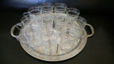 Beautiful silver plated tray with 11 Jan des Bouvrie tea glasses