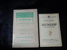 "1 catalogue ""Articles Pour Automobiles"" and 1 magazine Retail Prices of Dunlop Accessories"