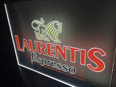 Laurentis espresso illuminated advertising + Set of two Carlsberg advertising signs - second half 20th century