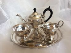 5-piece silver plated  tea set, teapot, milk jug, sugar bowl,tray and sugar tong, 20th century