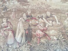 Very large and beautiful old tapestry in Aubusson style, Jacquard weaving, Antique from 19th century, 180 x 500 cm