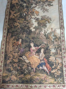 Beautiful tapestry -gobelin on brass carpet rod with 18th century scenes - Mid-20th century