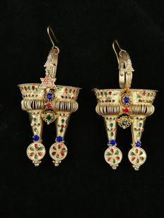 Vintage gilt silver earrings - Gujarat, India from the mid 20th century