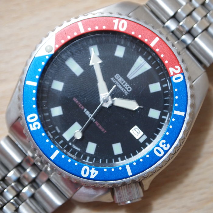 Seiko Scuba Divers Large Gents Wrist Watch with 'PEPSI' bezel, model 7002 7001 - c. 1990s'