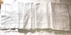 Antique fine linen double sheet in hand embroidery sicilian unstitched - complete with two night table covers