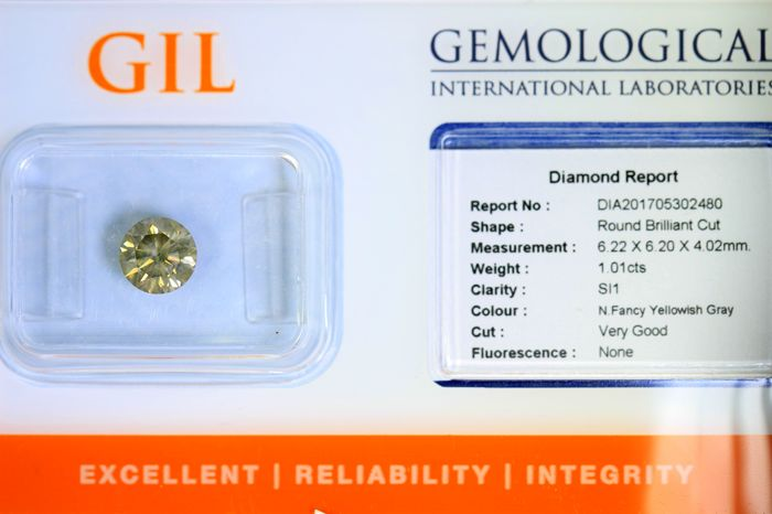 Diamond – 1.01 ct – Fancy Yellowish Grey – SI1