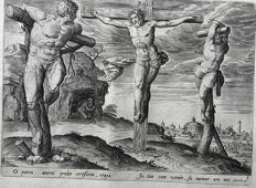 Jan Collaert I ( 1530–1581) after design by Maerten de Vos - Christ on the cross between the two sinners - 1585