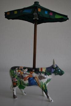 CowParade - Suzanne E. Sellers Année - it's A Cowpuccino Morning - Medium, Retired with tag and box