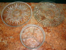 Two Cut Glass Tart Dishes and an Appetizers Dish